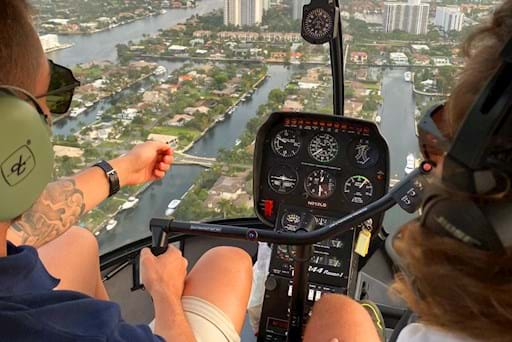 Amazing city view from helicopter