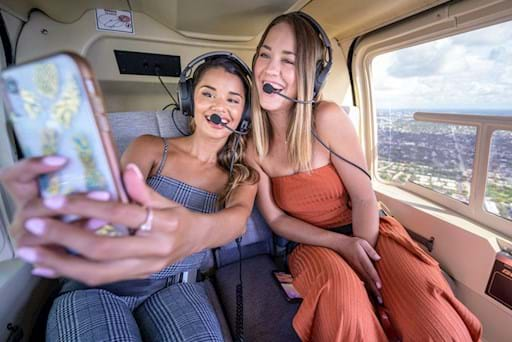 Selfie during helicopter ride