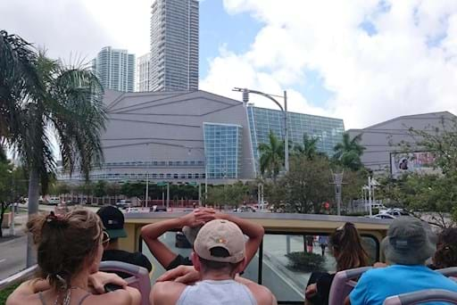 People enjoying a bus tour in Miami