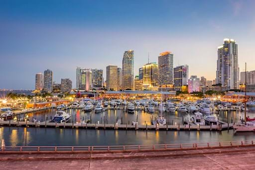 Stunning view of Miami Port during Sunset